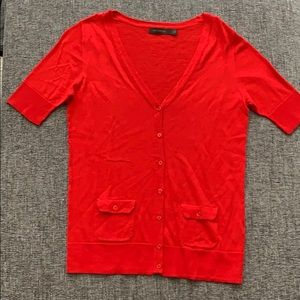 Short sleeve red/coral cardigan from The Limited